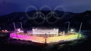 Debesīs veidotais Olimpisko spēļu logo