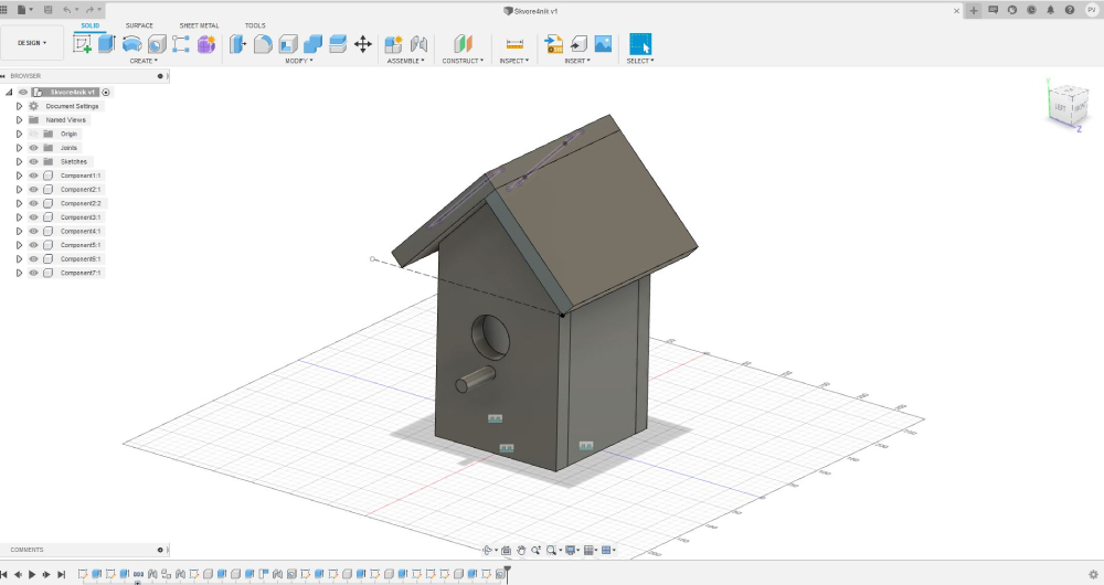 Fusion 360 darbnīcās veidotais putnu būrīša modelis